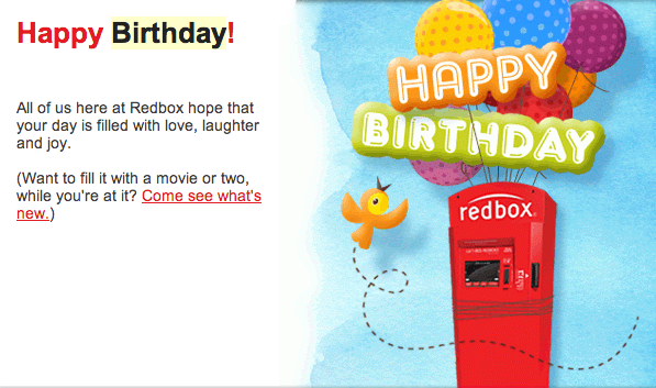 Charming #3: Redbox: Happy Birthday. Happy_Birthday_from_Redbox. In This Birthday  Wish Email ...
