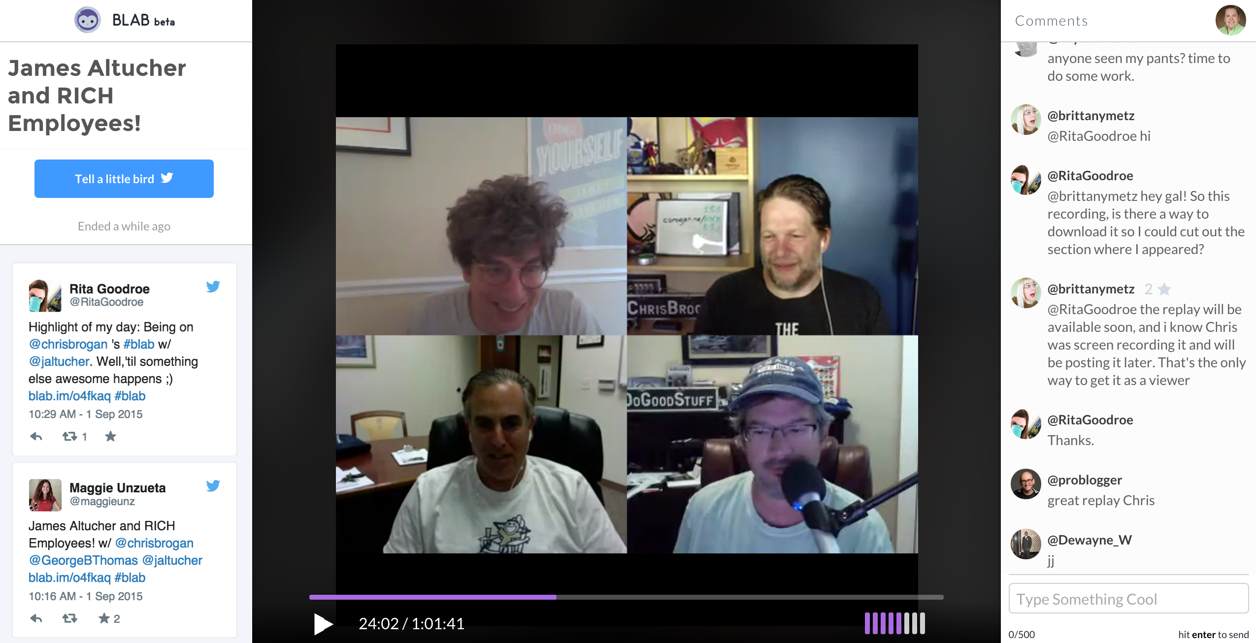 Chris Brogam with James Altucher and RICH Employees! on blab
